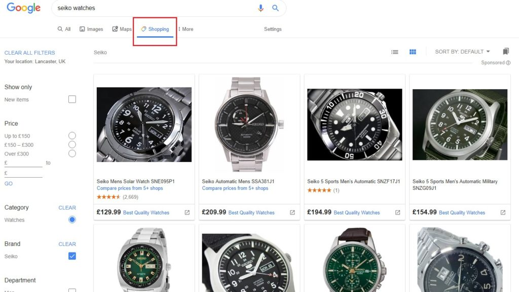 The Google Shopping tab allows online shoppers to browse to their hearts' content.